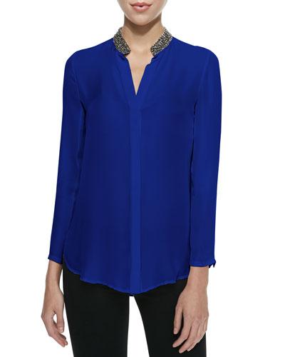 Bead-Collar Silk Blouse