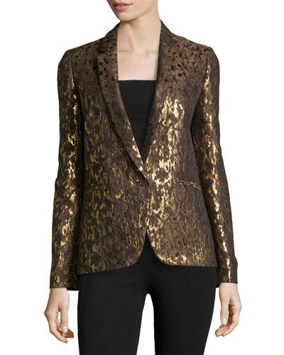 Metallic Brocade One-Button Jacket, Olive