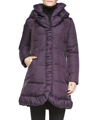 Marianna Hooded Puffer Coat, Plum
