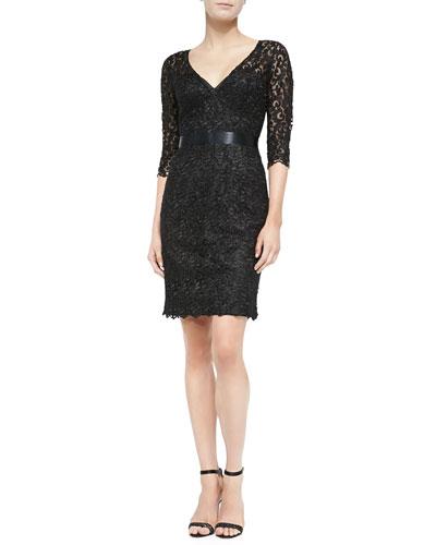 V-Neck Lace Cocktail Dress
