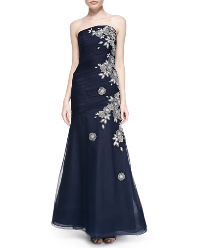 Embroidered Drop-Skirt Tulle Gown