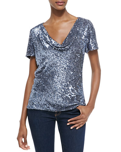 Drape-Neck Sequined Loose Top
