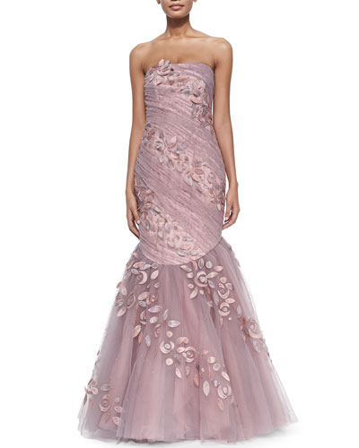 Strapless Tulle Applique Gown