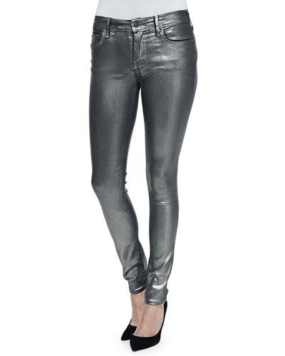 Halle Metallic Super Skinny Jeans, Aged Metal