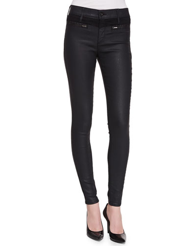 Zuri High-Rise Skinny Jeans, Black Slick