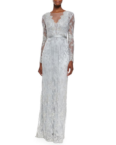 Zabrina Long-Sleeve Beaded Lace Gown