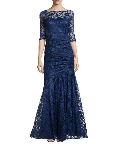 Half-Sleeve Lace Mermaid Dress, Navy