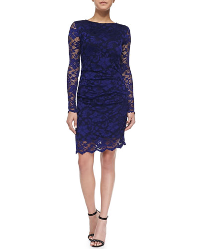 Long-Sleeve Lace Overlay Cocktail Dress