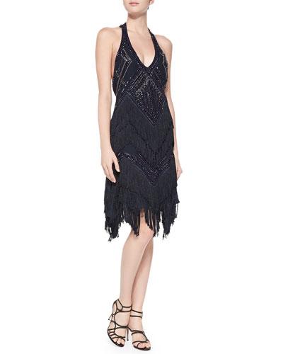 Sleeveless Beaded Fringe T-Back Cocktail Dress