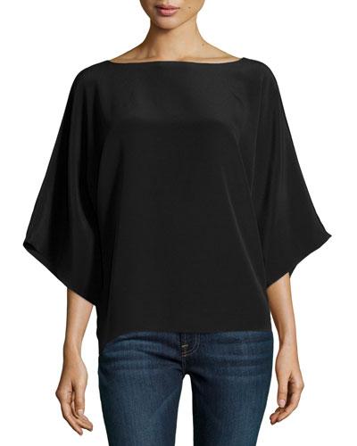 Wide-Neck Kimono Tunic, Black