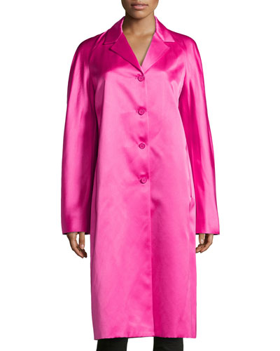 Satin Balmacaan Coat, Begonia