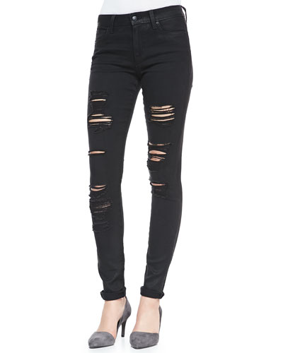 Destroyed Mid-Rise Skinny Jeans, Braelyn