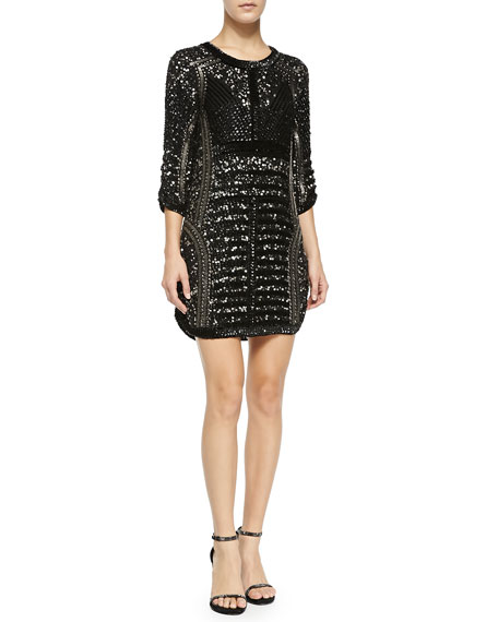 53ec67557820 Parker Black Petra Sequined & Beaded Cocktail Dress