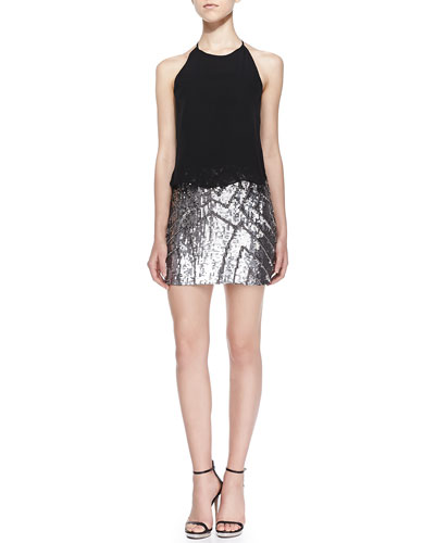 Farrow Halter-Neck Cocktail Dress W/ Sequined Skirt