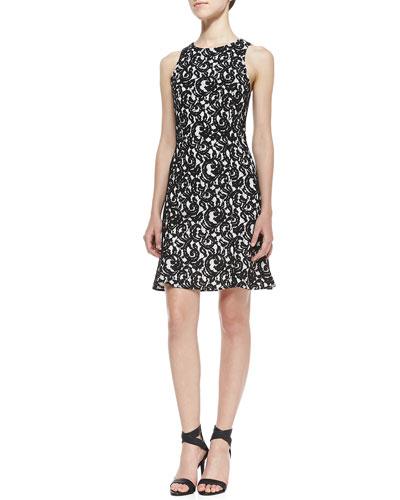 Bound Lace Contrast Dress, Black/White