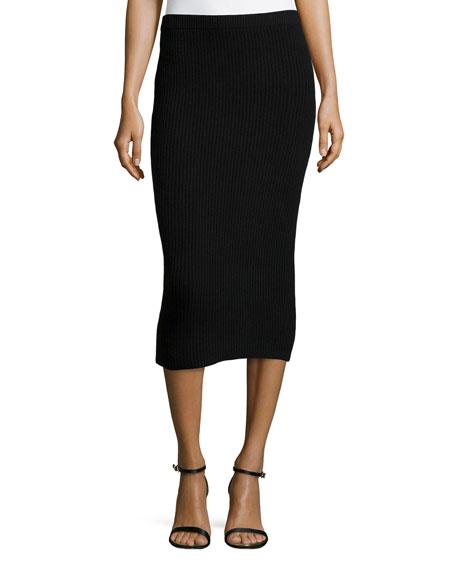 49b311e29d Michael Kors Cashmere Shaker-Knit Pencil Skirt, Black