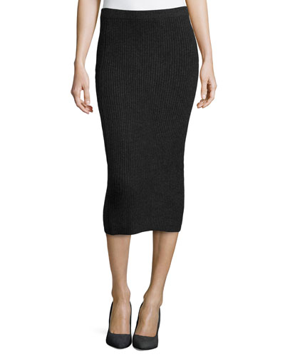 Cashmere Shaker-Knit Pencil Skirt, Charcoal