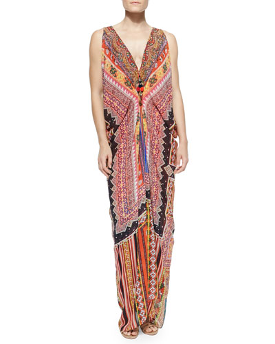 Draped Printed Dress W/ Zip Front