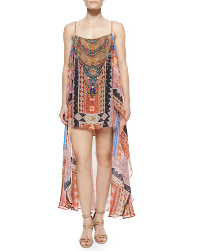 Printed Silk Convertible Maxi Dress