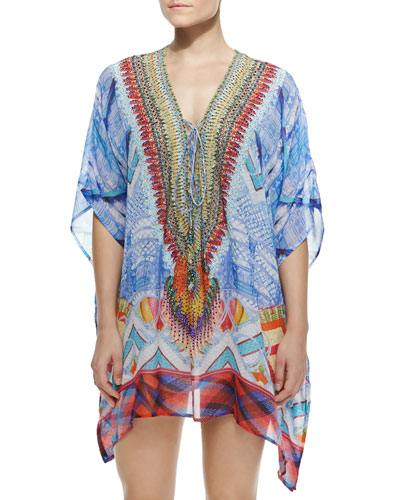 Short Lace-Up Caftan Dress, Crossing Paths