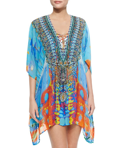 Short Lace-Up Silk Caftan Dress, Take My Hand