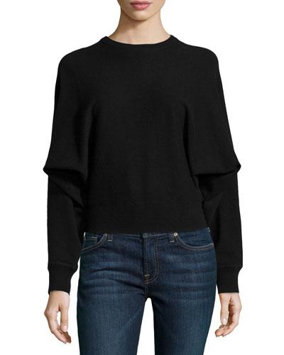 Cashmere Long-Dolman-Sleeve Top, Black