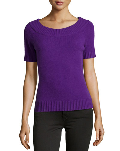 Short-Sleeve Cashmere Top, Grape