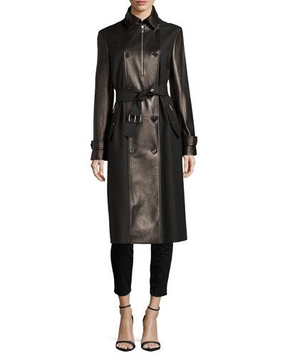Leather Combo Trenchcoat