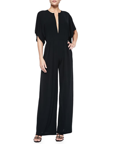 Elbow-Sleeve Slit-Front Jumpsuit