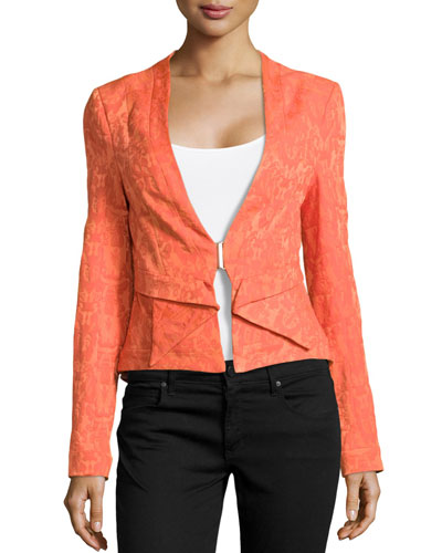 Pleat-Detail Jacquard Jacket, Flame
