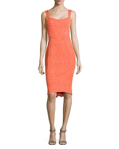 Pleat-Detail Jacquard Dress, Flame
