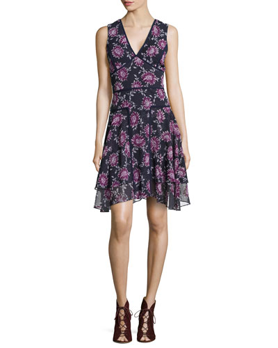 Floral-Print V-Neck Dress, Ink-Fuchsia