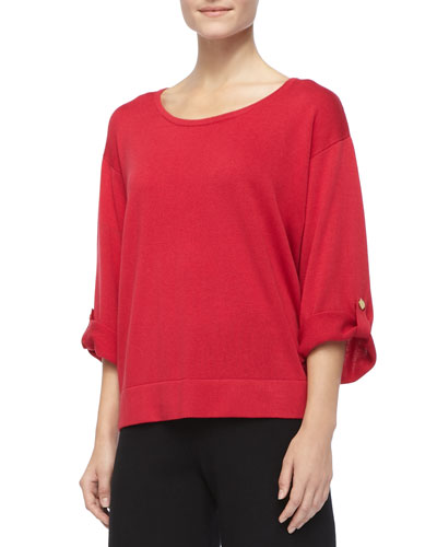Silk Cashmere Pullover Top, Petite, Ivory