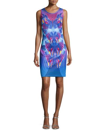 Printed Neoprene Tank Dress, Island Multi