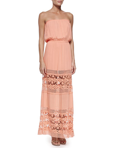 Charlotte Strapless Maxi Dress, Peach/Sun Lace