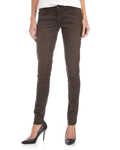 Coated Skinny Twill Jeans, Black
