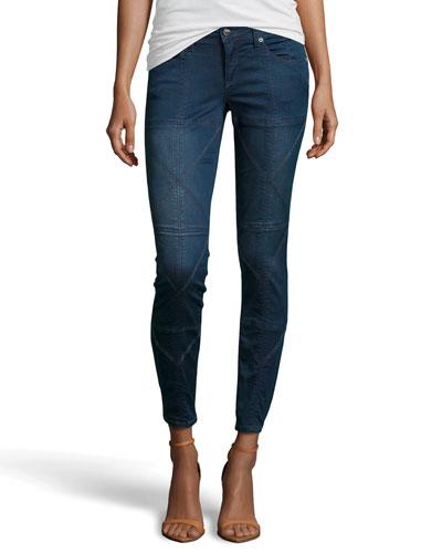 Origami Stitched Skinny Jeans, Dark Wash
