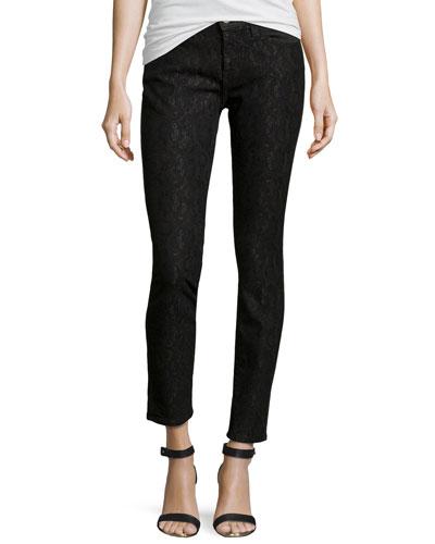 Slim-Fit Lace Stretch Jeans, Bonded Black