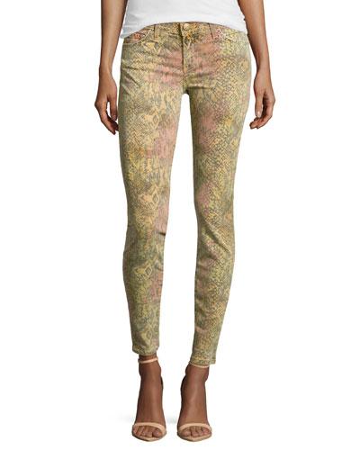 Slim Snake-Print Stretch Jeans, Black Desert Python