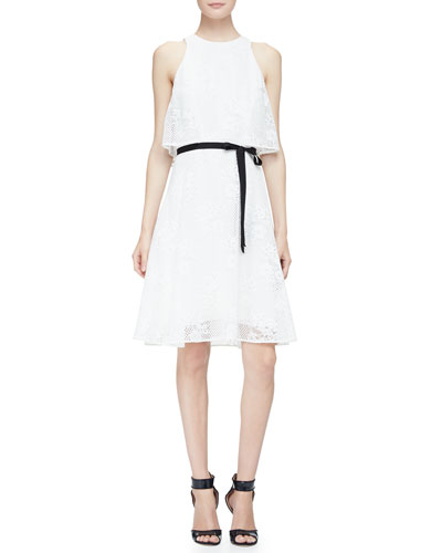 Belted Tiered A-Line Mesh Dress