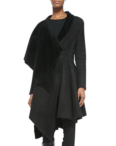 Sheepskin/Sheep Fur Asymmetric Draped Coat