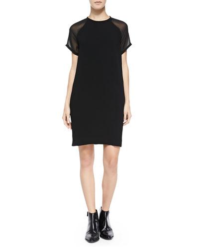 Sheer-Sleeve Loose Crepe Dress, Black