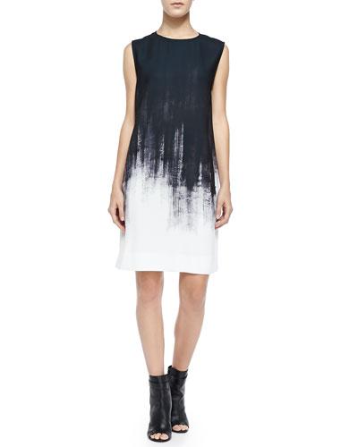 Sleeveless Brushstroke Shift Dress