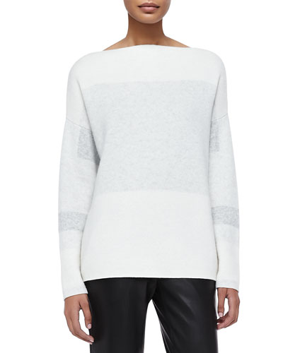 Tonal Colorblock Knit Sweater, Off White