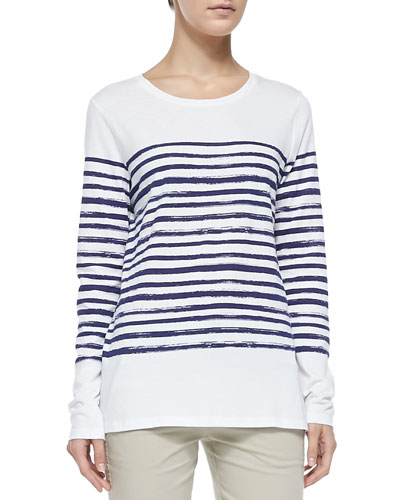 Long-Sleeve Tee W/ Marker Stripes, White/Blue Marine
