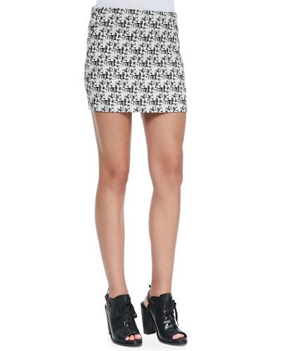 Elana Tweed-Print Miniskirt