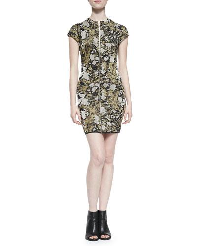 Cap-Sleeve Front-Zip Dress