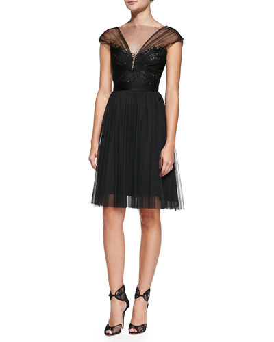 Beaded Spanish Tulle Cocktail Dress, Black