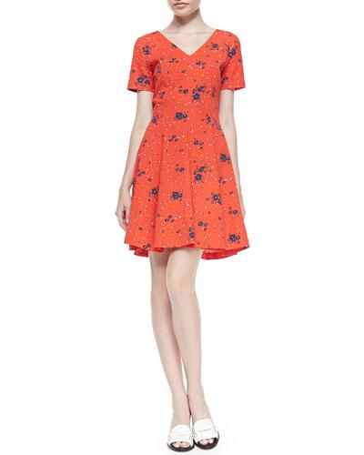 Short-Sleeve Floral Fit & Flare Dress