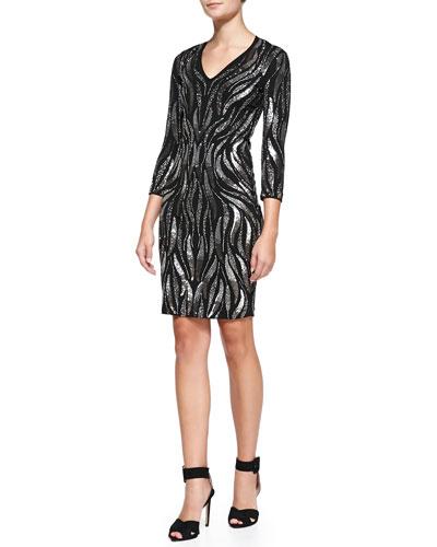 Embellished Zebra-Print Dress